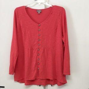 J. Jill Tops - J. Jill Salmon Color Long sleeve Cotton Top
